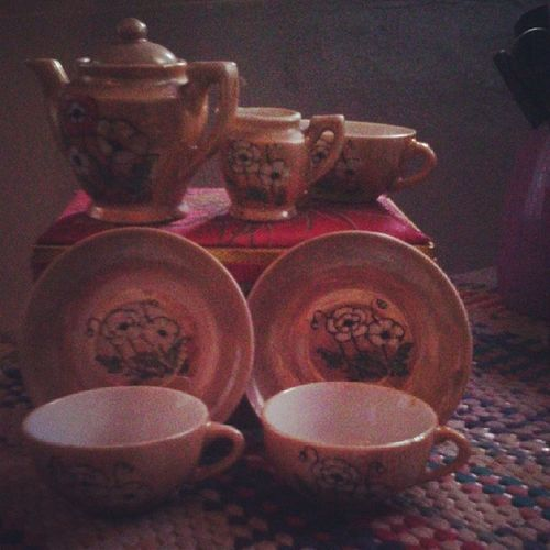 Cup of tea anyone??? Grandma 's Teaset 1930s Heirlooms ....clearly they didn't play with plastic ones ..lol