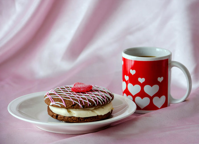 Cup of coffee with chocolate cake