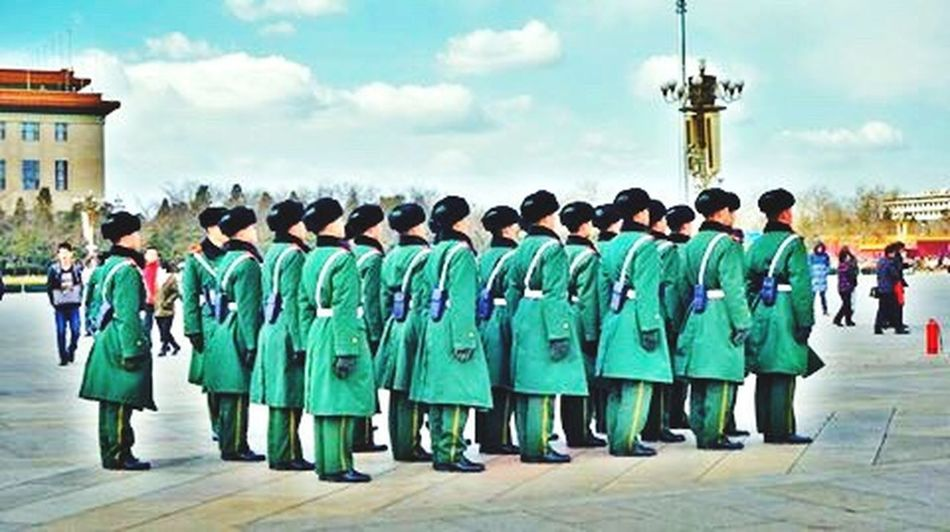 Beijing Person Army Life In A Row Men Group Of People Green Color China