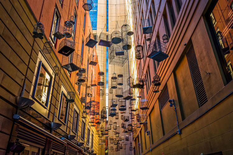 Empty birdcages at Angel Place, Sydney Angel Place Architecture Art Birdcage Building Building Exterior City Empty No People Outdoors Travel Chance Encounters Neighborhood Map