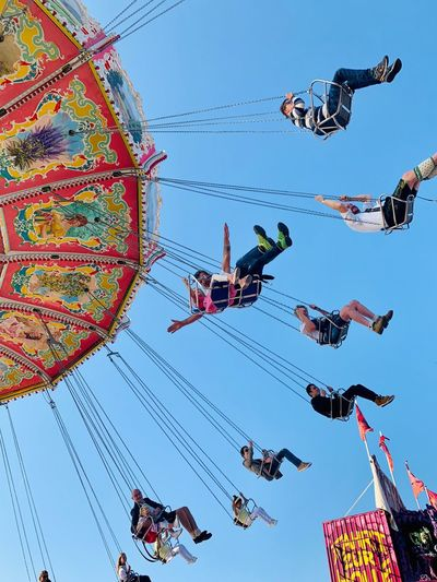 Oktoberfest Wiesn 2018 Oktoberfest Munich Oktoberfest Wave Swing Swing Carousel Carusell Sky Low Angle View Group Of People Clear Sky Arts Culture And Entertainment Amusement Park