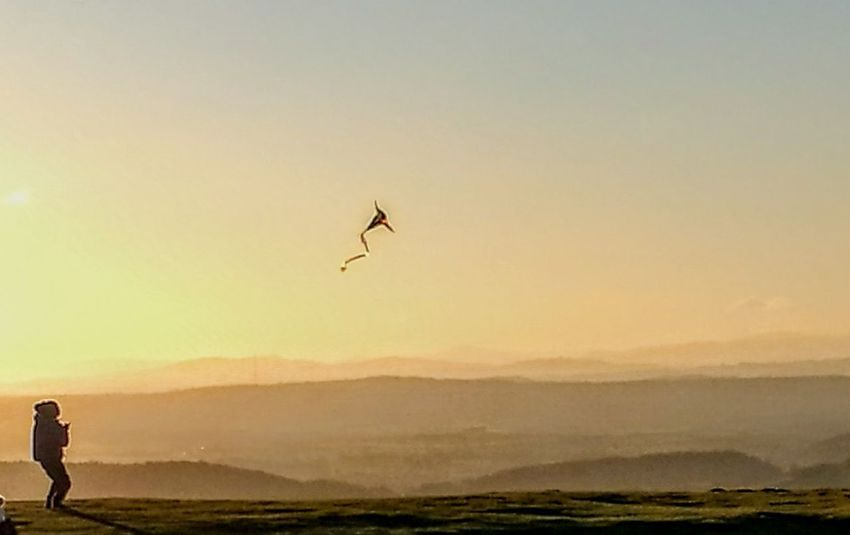 Malvern view Flying One Person Mid-air People Air Vehicle Sky Airplane Child Silhouette Landscape Outdoors One Man Only Adventure Sunset Nature Kite - Toy Childhood