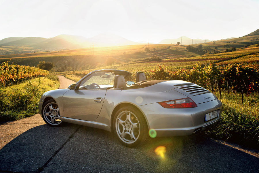 Autumn Nature Porsche Beauty In Nature Cabrio Car Day Land Vehicle Landscape Lens Flare Mountain Nature No People Outdoors Road Sky Sunlight Sunset Transportation