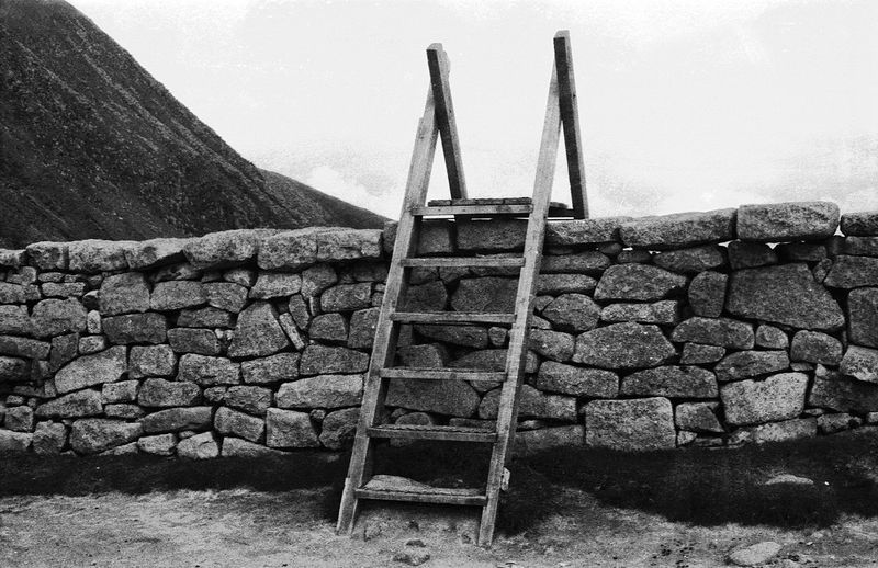 Ladder stile over a drystone wall, Slieve Donard, Mourne mountains, County Down, Northern Ireland Blackandwhite Grain Film Slieve Donard Mourne Mountains Northern Ireland Wall Stile Ladder Drystonewall No People Day Outdoors Sky Mountain Nature