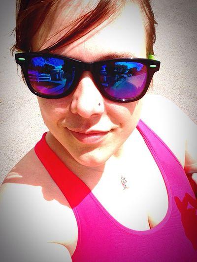 Soaking Up The Sun Walking Around Taking Selfies Hanging Out Pink Shades On Stunna Shades!¡!