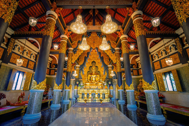 Interior of illuminated temple