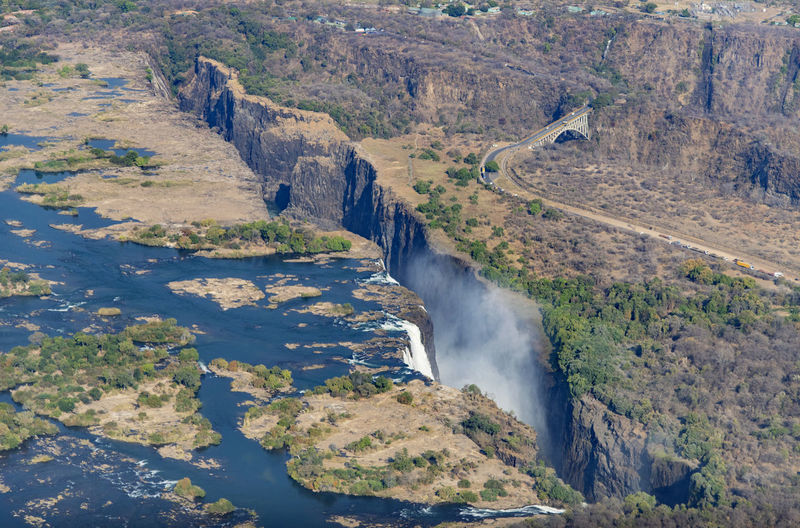 High angle view of waterfall on land