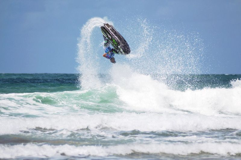 Low Angle View Of Jet Ski In Action