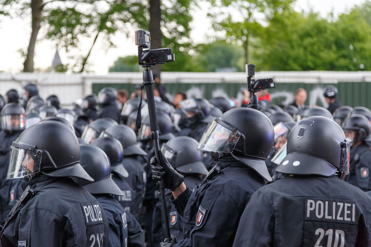 May Day Police. German Helmets Law Enforcement May Day Officers Police Riot Gear Riot Police Street Surveillance