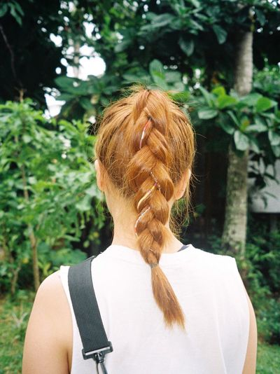 Rear View Of Woman With Braided Hair