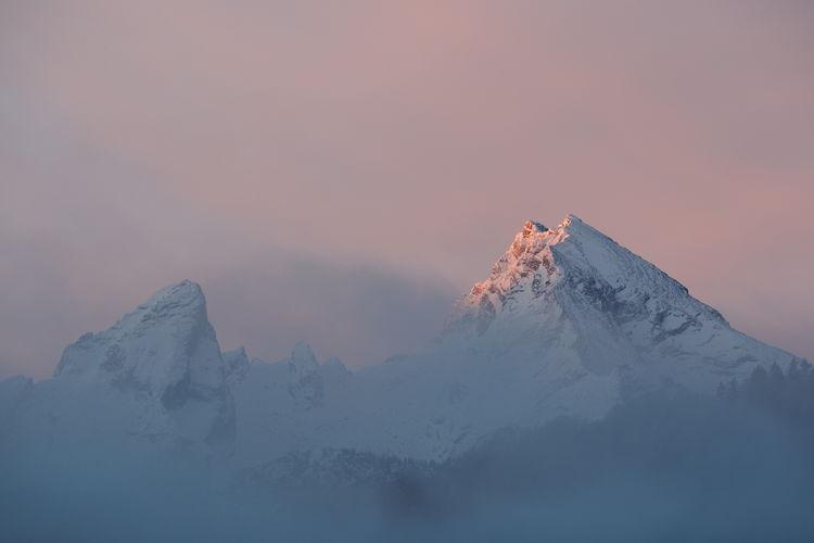 Watzmann mountain range at sunrise in winter, bavarian alps, berchtesgaden national park, germany