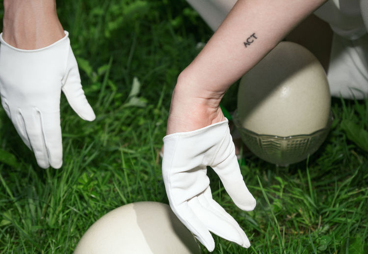 Dinosaur Inside Big Egg Ostrich Egg Green Grass Hands White Gloves Inked Tattoo Bowl Abstract Fashion Lady Woman Linas Was Here