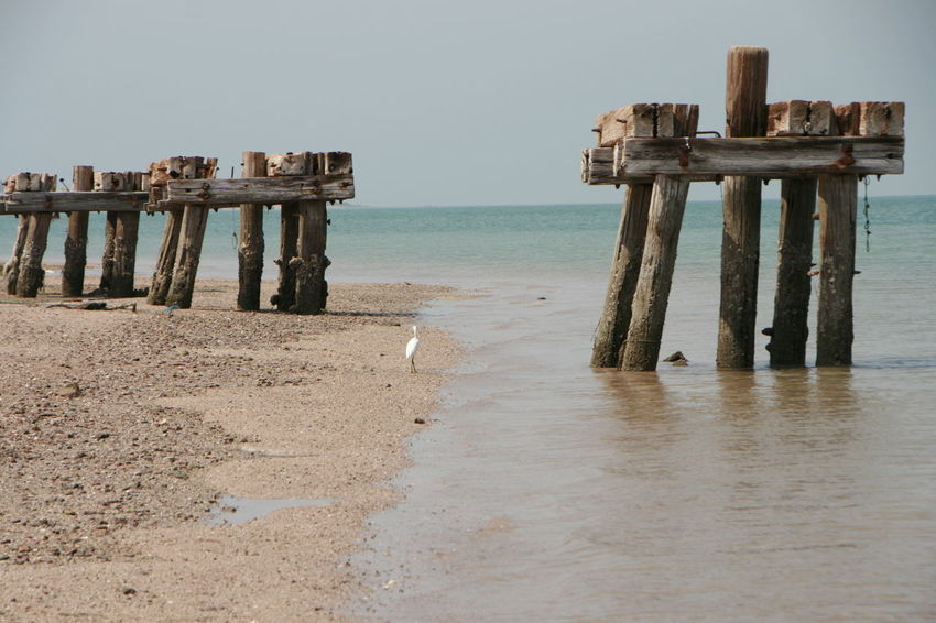 EyeEm Selects Sea Water Beach Sand Old Ruin Wood - Material History Sky Horizon Over Water Architecture