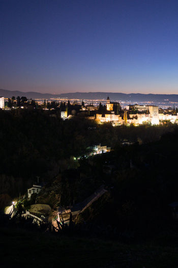 Granada, Spain SPAIN Andalusia Sacromonte Alhambra Albaycin Albaicin Building Exterior Built Structure Architecture Sky City Nature Night Illuminated High Angle View No People Copy Space Building Cityscape Blue Outdoors Plant Clear Sky Residential District Dusk Tree
