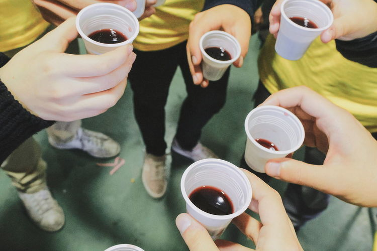 EyeEm Selects Drink Food And Drink Drinking Human Hand High Angle View Refreshment Holding People Togetherness Lifestyles Friendship Adults Only Cheers! Wine Not