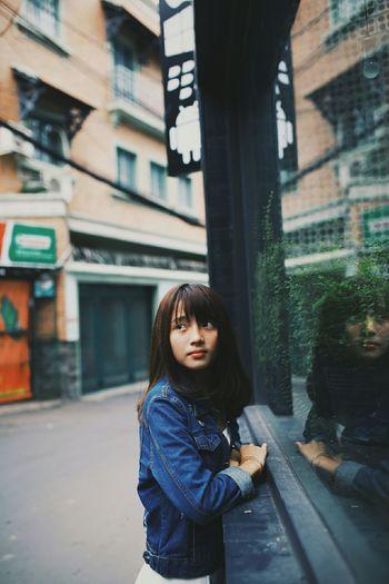 Striking Fashion Taking Photos Hanging Out Beutiful  Vietnamesegirl Jean Jacket