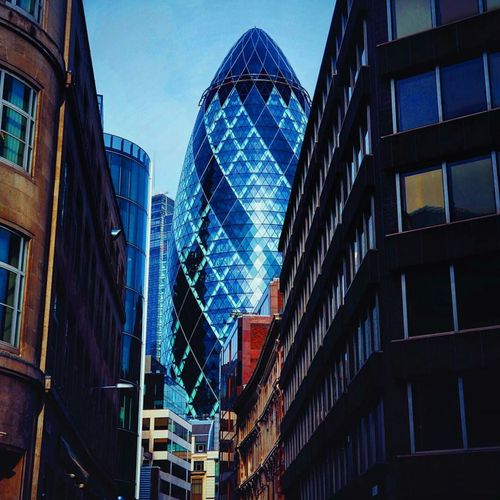 London Lifestyle Architecture Blue Building Exterior Low Angle View City Sky No People Skyscraper Uk England London Travel Tourism Travel Destinations Thegherkin Gherkin Gherkin Building Stmaryaxe Vibrant