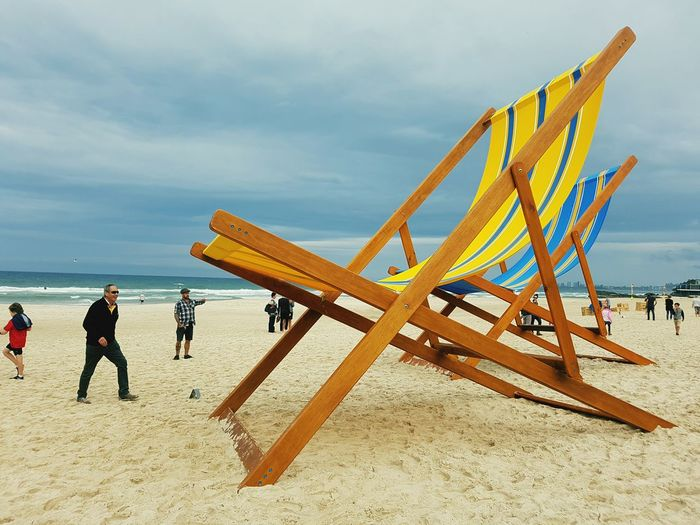 """""""With You"""" by Katie and Derek Hooper at the Swell Sculpture Festival 2016 Art ArtWork Beach Sea Sand Larger Than Life Clouds And Sky Currumbin Beach, Australia People And Places My Year My View Enjoy The New Normal"""