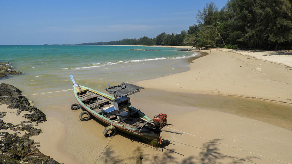 Thailand Beach Beauty In Nature Clear Sky Day Horizon Over Water Nature Nautical Vessel No People Outdoors Sand Scenics Sea Shadow Sky Sunlight Tree Water