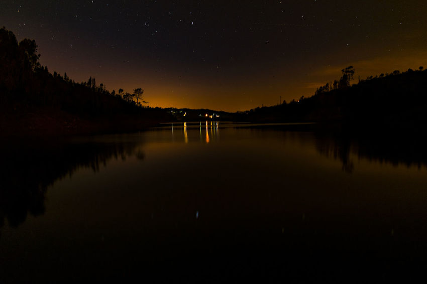 Aldeia do mato Stars Nikon Landscape_Collection Landscape Photography River Stars Night Reflection Star - Space Astronomy Lake Silhouette Scenics Beauty In Nature Constellation Water Sky No People Nature Illuminated Outdoors Milky Way Space Galaxy Astrology Sign