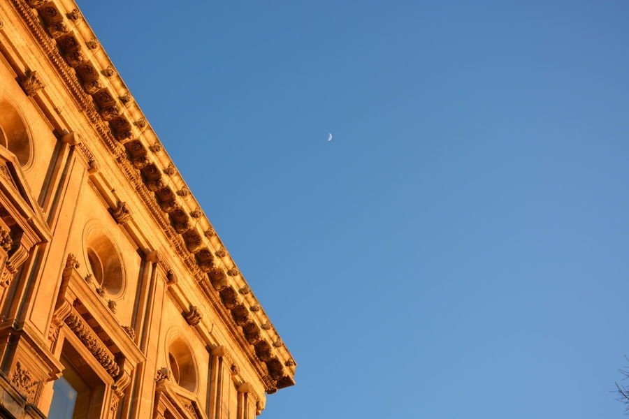 Clear Sky Low Angle View Blue Sky Architecture Moon Travel Destinations Outdoors Day No People Astronomy