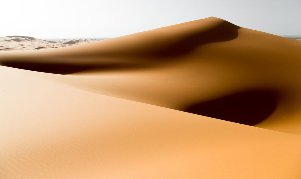Sand dunes in the desert. strong contrast, landscape Desert Dunes Morocco Perspectives On Nature Africa Beauty In Nature Desert Beauty Desert Landscape Dunes Of Merzouga Dunescape Erg Merzouga Nobody Sand Dune Shadows Yellow