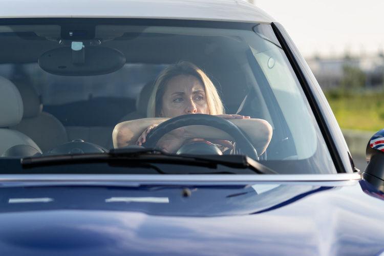 Portrait of man in car