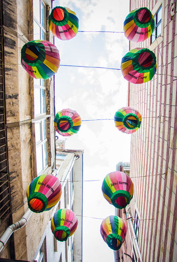 Architecture Built Structure Colorful Day Hanging Lantern Low Angle View Multi Colored No People Outdoors Sky Street Photography Variation