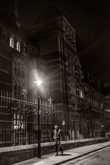 London street photography. Royal Courts of Justice by night. Fujifilm Black & White London After Dark