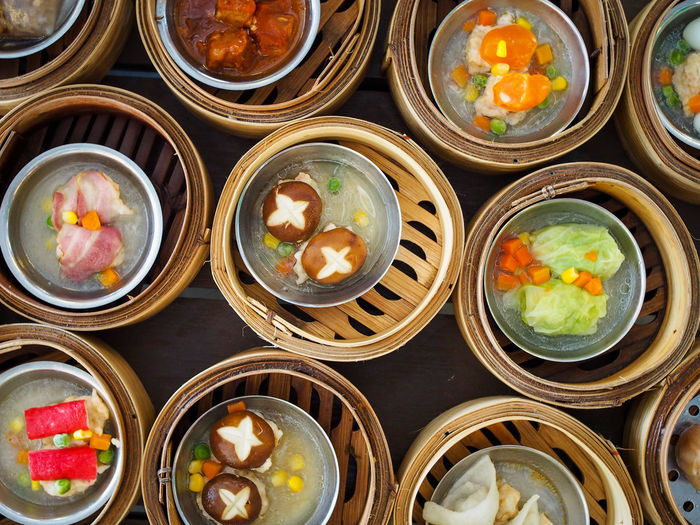 Breakfast dim-sum sets Asian  Breakfast Chinese Food Cuisine Dish HongKong Hot Meal Pork Tradition Bamboo Basket China Contrast Delicious Dimsum Dumpling  Meat Mushroom Restaurant Steamed  Top View Vegetable