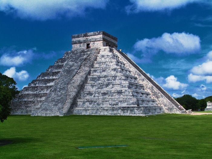 Chitza Nitza, Mexico Mayan Ruins Mexico Ancient Ancient Civilization Architecture Building Exterior Built Structure Cloud - Sky Day Grass History Mayanculture Nature No People Old Ruin Outdoors Pyramid Sky Temple The Past Tourism Travel Destinations