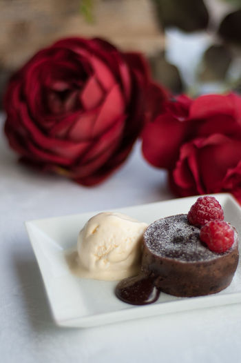 Close-up Of Chocolate Cake And Ice Cream Served In Plate