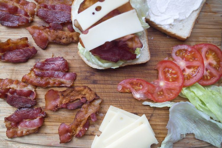 Making a BLT for lunch. Meat Food And Drink Food Ham SLICE Freshness Salami Pork Sausage Bacon Bacon Lettuce Tomato Indoors  No People Ready-to-eat Unhealthy Eating Gourmet Close-up Day