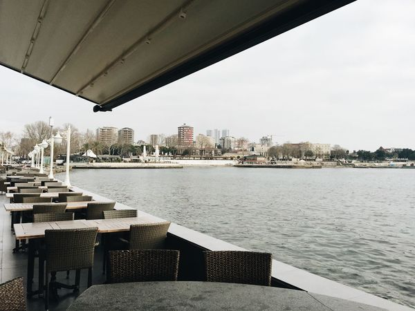 A terrace of an empty restaurant in winter in Istanbul, Turkey with the view at Marmara Sea Architecture Beautiful Beauty In Nature Built Structure Empty Restaurant Horizon Over Water Istanbul Marmara Sea Nature No People Sea Terrace Travel Travel Destinations Turkey Winter