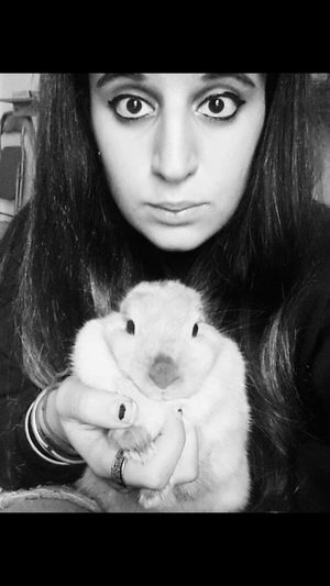 Me And My Rabbit Animal Love Black And White Photography Scary Black Eyes Seriusface My Animal Horror Photography Sad Face