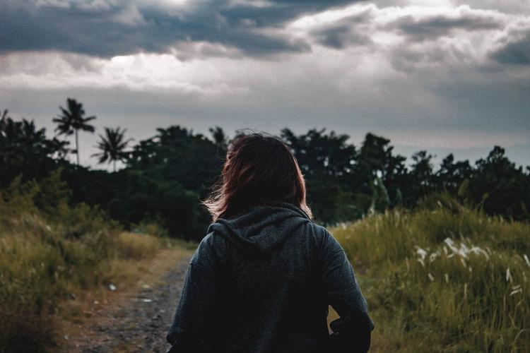 Feel lonely. The Traveler - 2019 EyeEm Awards ME14 Cianjur The Great Outdoors - 2019 EyeEm Awards Landscape Tree Adventure Women Rear View Back Exploration Human Back Sky Hiker Pine Woodland Hiking Pine Tree Wonderlust Backpack