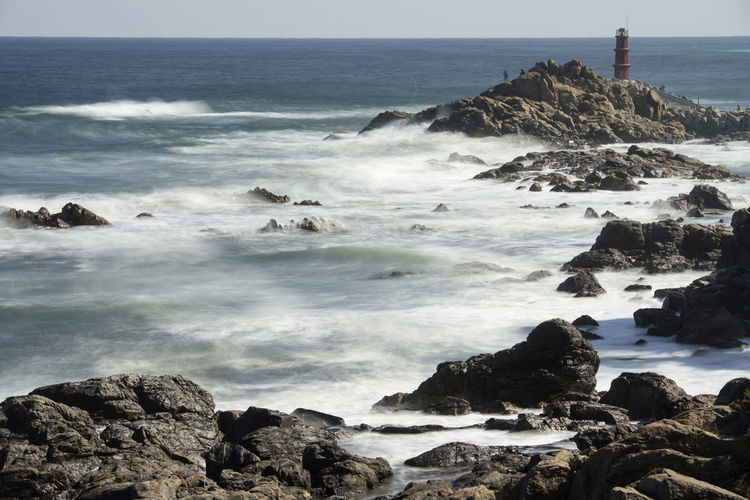 Sea view from Naksansa, Yangyang, Gangwondo, South Korea Beach Beauty In Nature Day Horizon Over Water Motion Naksansa Nature No People Outdoors Power In Nature Rock - Object Scenics Sea Seaside Sky Surf Water Wave