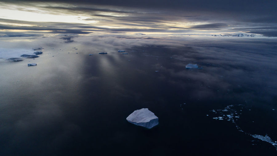 Antarctica Drone  Global Warming Icebergs Aerial Aerial View Beauty In Nature Climate Change Cloud - Sky Cold Temperature Dronephotography Environment Ice Iceberg Idyllic Nature No People Outdoors Scenics - Nature Sea Sunset Tranquil Scene Tranquility Water Winter