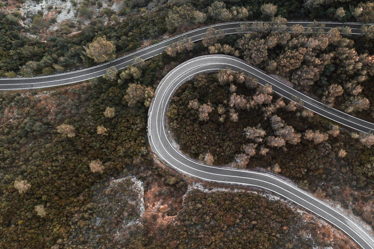 Road Aerial View Transportation Tree Nature Curve Landscape Outdoors Connection Autumn Fall Travel Destination Europe Tourism Mountain Environment Day Wanderlust Lines Shape Rock Highway City Pavement