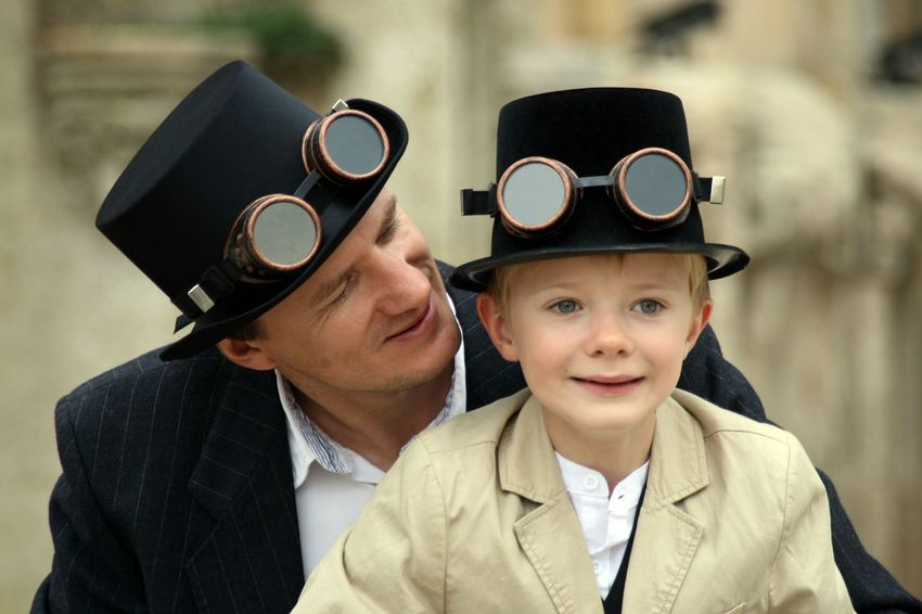 RePicture Masculinity Faces In Places Enjoying Life Father & Son Steampunk Happiness Hat Glasses Telling Stories Differently