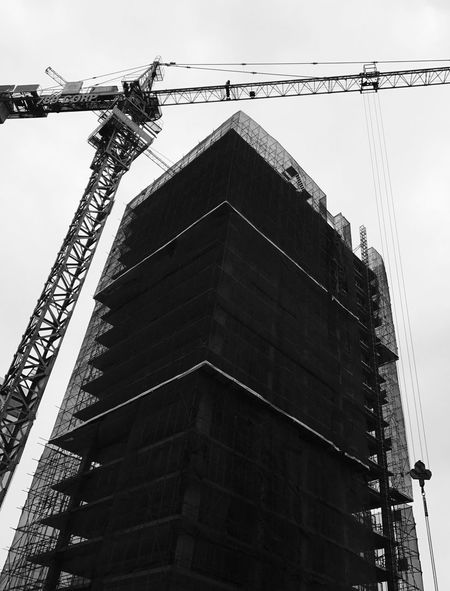 Under-construction building #2 Tower Crane Architecture Black And White Blackandwhite Building Exterior Built Structure Bw Cable Clear Sky Cranes And Construction Day Low Angle View No People Outdoors Sky Underconstruction