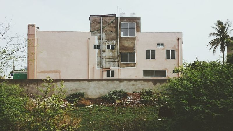 Building Exterior Architecture Built Structure Window Residential Building Outdoors No People Day Tree City Sky Bhilai India Durg Construction Plaster Plastering Unfinished Pink Pink Color Concrete
