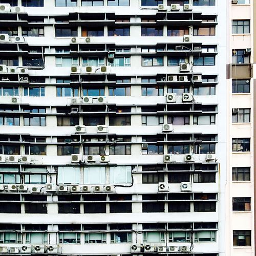 Façade Light And Shadow Hong Kong Architecture IPhoneography Showcase June Cityscape Building Blocks Sunlight, Shades And Shadows Architecture Air Conditioning Units
