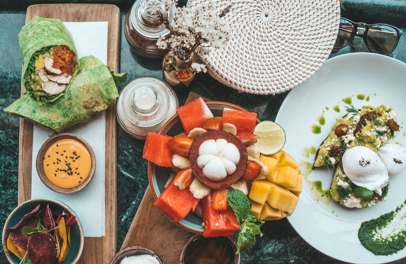 Food And Drink Food Healthy Eating High Angle View Table Freshness Vegetable Wellbeing No People Still Life Plate Indoors  Variation Choice Eating Utensil Ingredient Ready-to-eat Container Close-up Kitchen Utensil