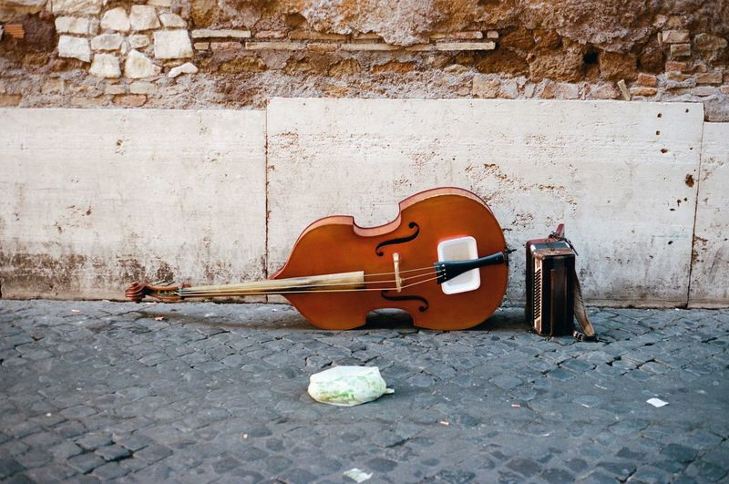 Filmisnotdead Filmcamera Italy Analog Roma Analogue Photography Canon AE-1 Street Photography - EyeEm Awards 2016 Streetperformer Musician Cello Cobblestone 35mm Film Empty Nopeople