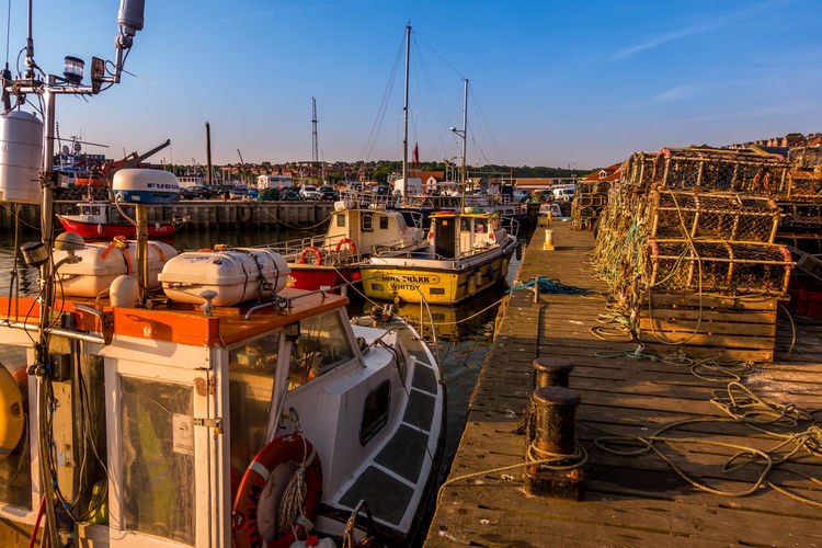 Whitby Whitby Harbour Whitby View Whitby North Yorkshire North Yorkshire Fishing Boat Harbour Harbour View Nautical Vessel Marina Fishing Boats Crab Pots Lobster Pots Sky No People Sunlight Day Sailboat Clear Sky Pier Outdoors Port Fishing Industry Harbor Moored