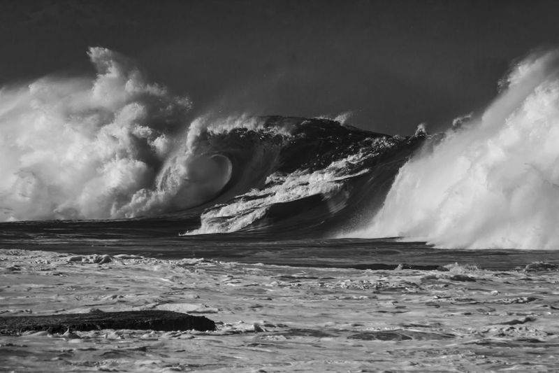 Big breaking wave in black and white Hawaii Stormy Weather Surf Swell Travel Beauty In Nature Black And White Breaking Extreme Weather Hitting Motion Nature No People Outdoors Power Power In Nature Rock Scenics - Nature Sea Seascape Splashing Sport Water Waterfront Wave