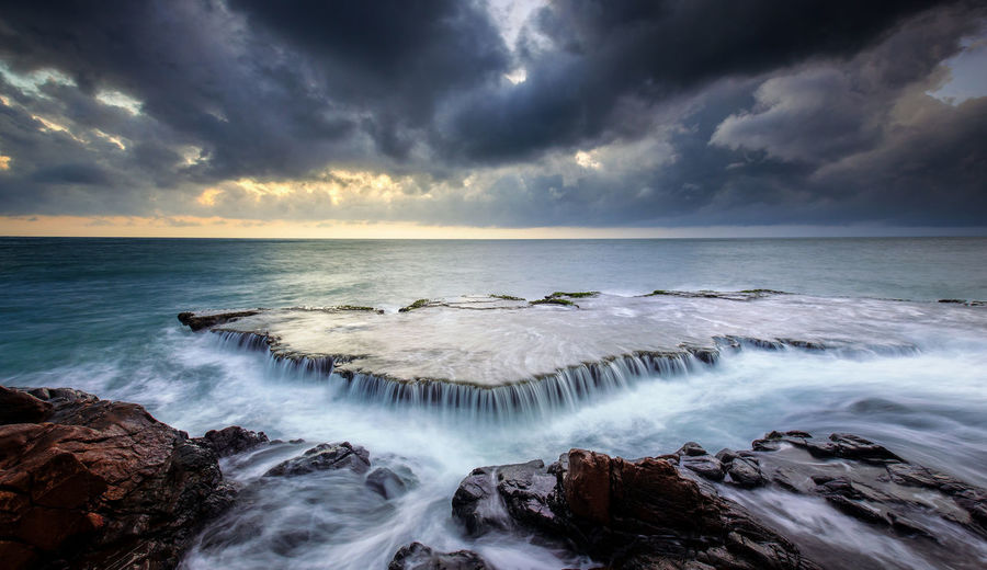 Astronomy Atmospheric Mood Awe Beach Beauty In Nature Cloud - Sky Cloudscape Coastline Dramatic Sky Horizon Over Water Landscape Long Exposure Nature No People Outdoors Romantic Sky Scenics Sea Seascape Seaweed Sky Storm Storm Cloud Water's Edge