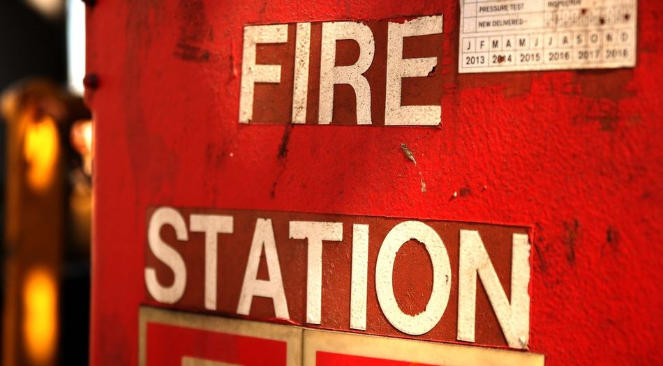 Fire Station Sign Signs Fire Fire Sign Red Red Sign Safety Safety Sign Oilplatform Platform Rusty