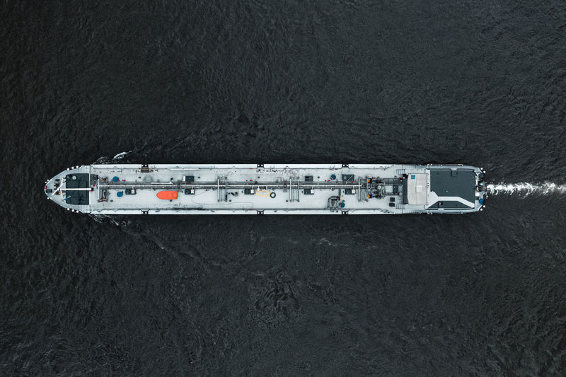 Aerial view of ship in river